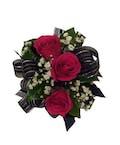 3 Dark Pink Spray Rose Corsage Black Ribbon