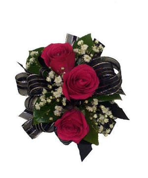 3 Dark Pink Spray Rose Corsage Black Ribbon