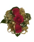 3 Dark Pink Spray Rose Corsage Gold Ribbon