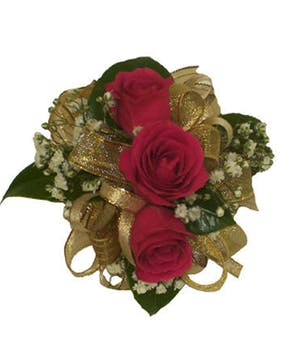 3 Dark Pink Spray Rose Corsage Gold Ribbon