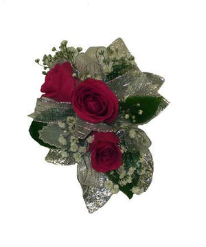 3 Dark Pink Spray Rose Corsage Silver Ribbon
