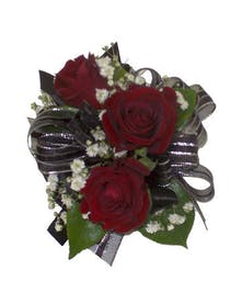 3 Red Spray Rose Corsage Black Ribbon