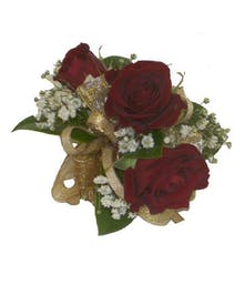 3 Red Spray Rose Corsage Gold Ribbon