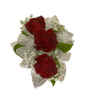 3 Red Spray Rose Corsage Silver Ribbon