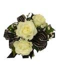 3 White Spray Rose Corsage Black Ribbon