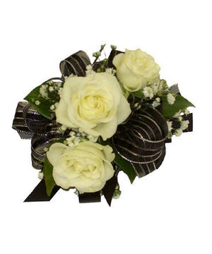 3 White Spray Rose Corsage Black Ribbon