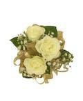 3 White Spray Rose Corsage Gold Ribbon