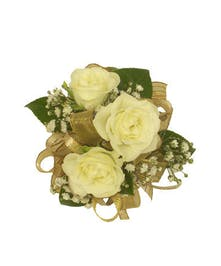 3 White Spray Rose Corsage Gold Ribbon
