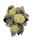 3 White Spray Rose Corsage Silver Ribbon