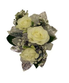 3 White Spray Rose Corsage Silver Ribbon