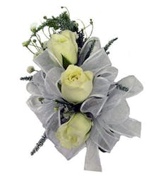 3 White Spray Rose Corsage White Ribbon