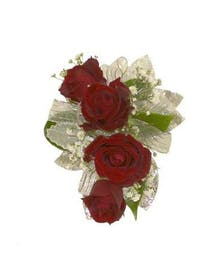 4 Red Spray Rose Corsage Silver Ribbon