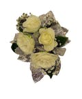 4 White Spray Rose Corsage Silver Ribbon
