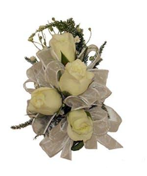 4 White Spray Rose Corsage White Ribbon