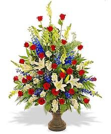 Patriotic Urn Arrangement