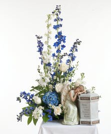 Blue & White Memorial Urn Arrangement