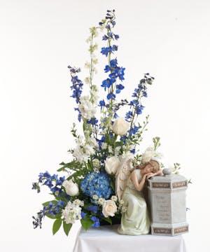 Blue & White Memorial Urn Arrangement