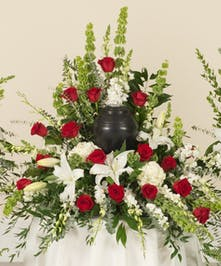 Red & White Memorial Urn Bouquet
