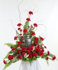 Red Carnation Memorial Urn Arrangement