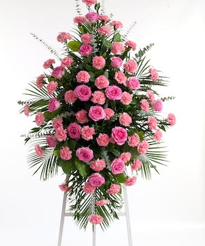 Pink Rose & Carnation Easel Spray