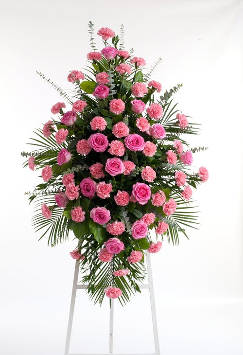 Pink Rose & Carnation Easel Spray