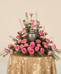 Pink Rose & Carnation Memorial  Urn Arrangement