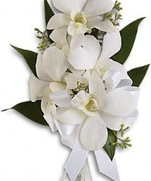 White Dendrobium Orchid Corsage White Ribbon