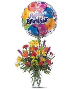 Complete with Fresh flowers and Mylar Balloon