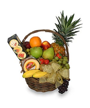 Fresh fruit, cheeses & chocolate.  A classic gift.