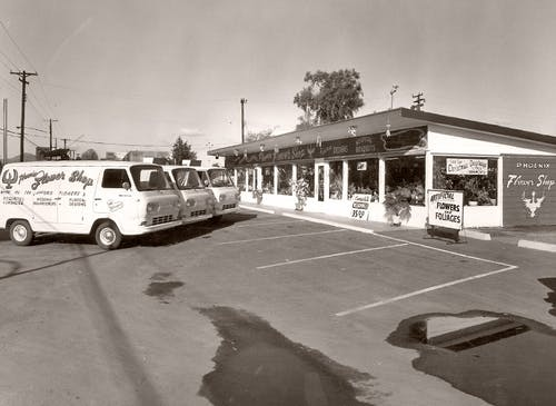 A small fleet of delivery vans parked outside our showroom, circa 1970
